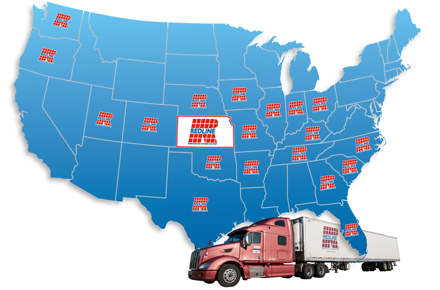 Redline Trucking Refrigerated Transport Service Areas
